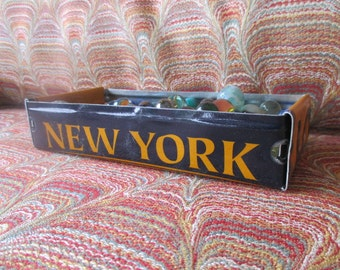 New York License Plate Tray - Rustic Treasure Tray - Storage Box - FREE SHIPPING