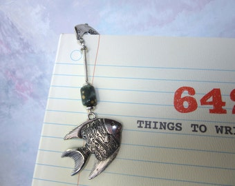 fish bookmark metal with dolphin and clownfish gift for Dad Mom or Teen an ocean lovers or nature lovers reader gift for science peeps