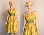 Vintage 1950s Dress - Sundress Floral Print Sheer Ruched Flower Applique Sun Yellow Party Dress - Garfinckel & Co - Small