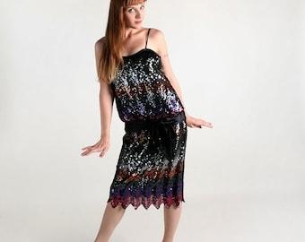 ON SALE Vintage Sequin Dress - Rainbow Chevron Zig Zag Dress - 1980s does 1920s Flapper - Large