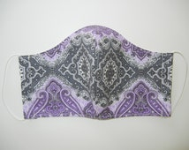 Fabric Surgical Face Mask with Lavender Gray Damask