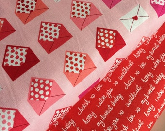 Sale fabric, Cute fabric, Pink Envelopes fabric bundle, Text fabric, Red fabric, Fabric by the Yard- Fabric Bundle of 2, Choose The Cuts