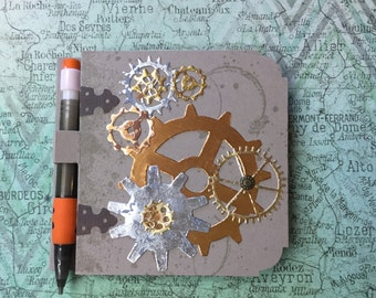 Steampunk Gears Post It Note Notepad with Pencil