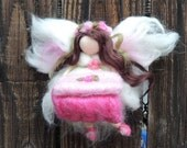 Tooth fairy - Girl - Waldorf Inspired Needle Felted in Coral, Pink, Rose and White