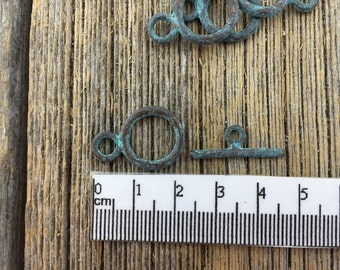 Greek Clasps, Mykonos Toggle Clasps, Greek Bronze Toggle Green Patina, Verdigris Findings, Lead Free 20mm Clasp, Vintage Style Findings