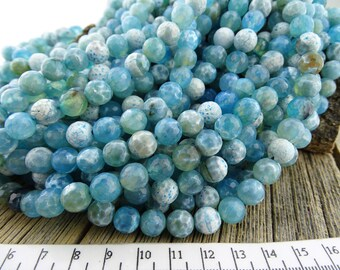 Fire Agate Beads, 8mm Blue Fire Agate Beads, Faceted Agate, Cracked Round Beads, Blue Beads, White Beads, Multi Color Gemstone Beads