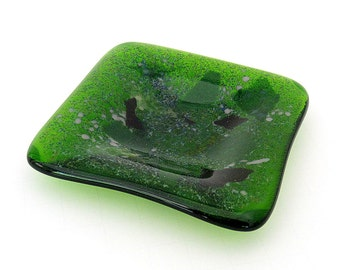 Moss Green Fused Glass Trinket Dish Bits of Purple and Pink Glass