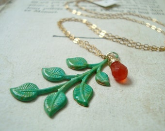 Mint Leaf Necklace With Carnelian - Hand Painted Wire Wrapped Gold Nature Inspired Charm Necklace Bridesmaid Necklace Mothers Day