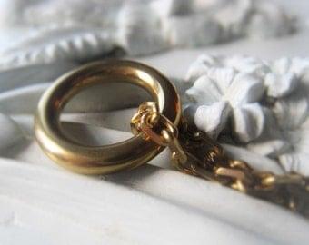 Gold Ring Pendant Brass Circle Bracelet Connector Item No. 9287 1077