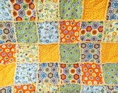 Twin Size Rag Quilt - Stitch Organic Fabrics - Orange Blue Yellow Green - Handmade