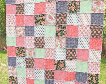 Rag Quilt - Twin Size - Pink and Green Twin Quilt - Made to Order - Shades of Pink, Orange, Green - Floral Quilt - Girl Quilt