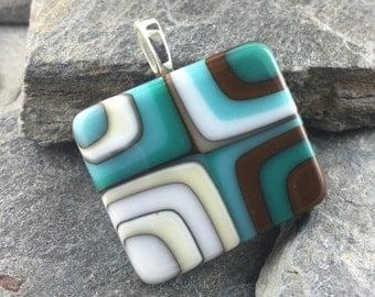 Earthy Pendant. Fused Glass Pendant. Sophisticated Jewelry. Wearable Art Jewelry. Made in Texas. Bold Bullseye Design.