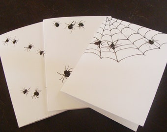 Spider Cards set of Three, insects,don't bug me spider, spider web, scary spider,nature ,organic  ,woods , Hand Painted ,Set of 3