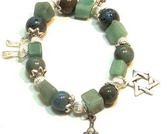 Jewish bracelet, Jewish Star Bracelet, Judaica Jewelry, Jewish Jewelry, Gemstone Jewelry