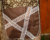 Hippie Patchwork SKIRT Hippy VINTAGE Ribbon Tan Phish Lace Maxi Long Full Floor Length Cotton Patchwork Brown Tiered Retro elyse oRiGiNaLs
