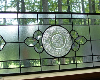 stained glass panel Crystal Heritage with clear bevels