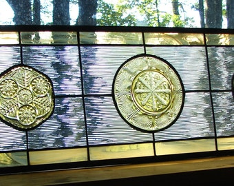 Stained glass panel pale Amber Waves