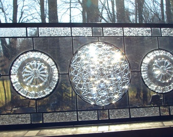 """stained glass panel Daisy & Button Panel transom 33"""" large"""