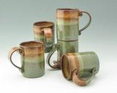 Pottery Cafe Style Coffee Mug, 16 oz Stoneware Beer Mug, Honey & Sage Mug, Sold Singly, Ready to Ship