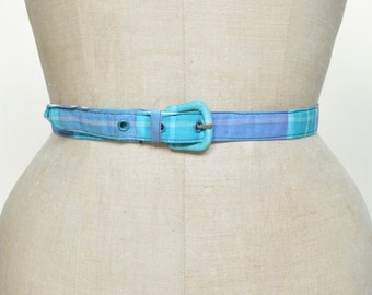 Vintage Blue Belt --- 1950s Plaid Belt