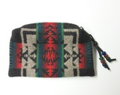 Beaded Zippered Pouch Coin Purse Change Purse Accessory Organizer Wool Native American Print