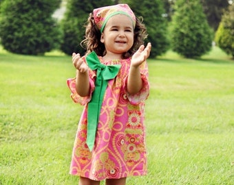SALE Bodacious Bow Peasant Dress Sewing Pattern short, three quarter and long Sleeve -- 0m - 12 girls PDF Instant