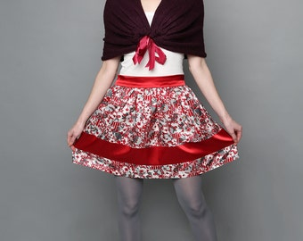 Red and white floral print skirt, vintage fabric pattern skirt, Red Circle skirt, Bow skirt, Satin layers skirt, prom skirt, lolita skirt