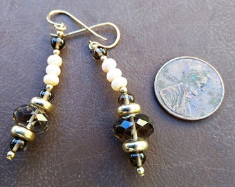 Smoky Quartz and Freshwater Pearl Earrings