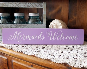 Mermaid Sign, Mermaids Welcome, Beach Cottage, Wood Sign, Coastal Decor,  Seaside Decor, Whimsy, Beach House
