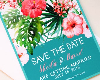 Tropical Flowers Hawaiian Beach Destination Wedding Save the Date