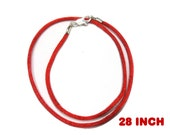 28 Inch Necklace, Red Satin Cord Necklace With Silver Plated Clasp - Christmas