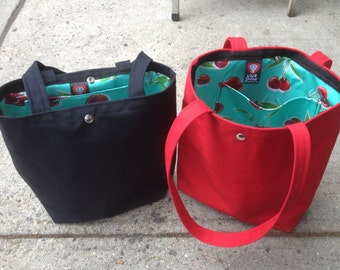 Canvas Tote Bag with Cherry Oil Cloth Lining.