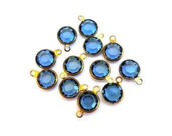 6 Dangling beads vintage Swarovski blue crystal Austrian crystal in brass channel 8mm crystals