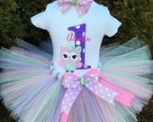 Baby Girl First Birthday Outfit - Owl Birthday - Look Whoo's One - Birthday Tutu Outfit - Cake Smash Girl