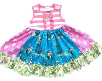 Frozen Fever In Summer dress Momi boutique girls disney dress