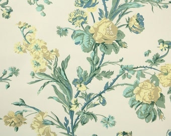1950's Vintage Wallpaper - Floral Wallpaper with Yellow Roses on Cream
