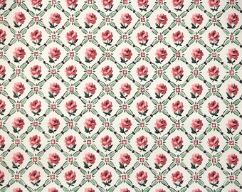 1950s Vintage Wallpaper by the Yard - Little Pink Roses and Green Ribbon Lattice