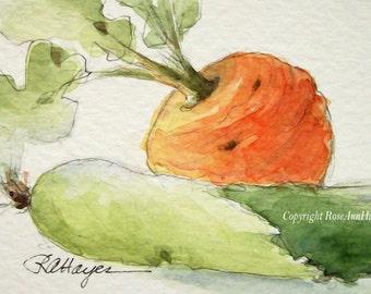 Original Watercolor Painting Leek Turnip Vegetable Garden Veggie Still Life ACEO Kitchen Art