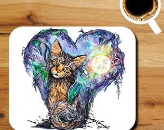 Kitten's Moon Garden Watercolor Art Print Mouse Pad