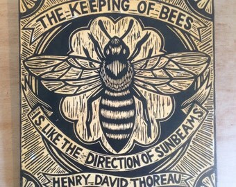 Bee Art - Honey Bee Woodcut Art Print - Henry David Thoreau Quote - Woodcut Print on Wood - Ready to Hang Art - Author Quote Print