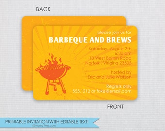 Grill Out Dinner Party | Couples Shower | BBQ and Brews invite- DIY -Instant Download & Editable File-Personalize at home with Adobe Reader