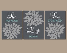 Live Laugh Love Wall Art, Bedroom Canvas or Prints Bathroom Artwork, Bedroom Pictures, Flower Wall Art, Flower Burst Dahlia Set of 3 Decor