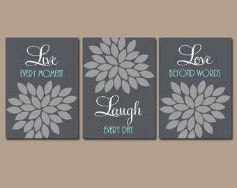 Live Laugh Love Wall Art- Bedroom Canvas or Prints Bathroom Artwork- Bedroom Pictures- Flower Wall Art- Flower Burst Dahlia Set of 3 Decor