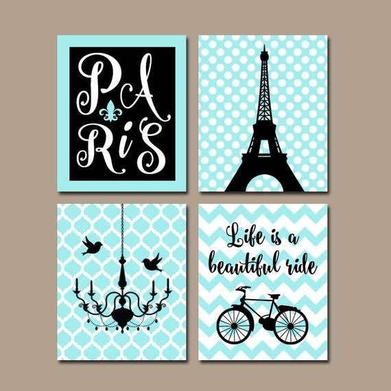 Paris Wall Art Canvas Or Prints Eiffel Tower Decor Aqua