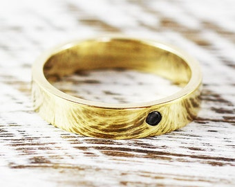 Mens Wedding Band 14k Yellow Gold 2mm Black Diamond Ring