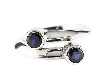 Blue Sapphire Ring Delicate White Gold Womens Rings