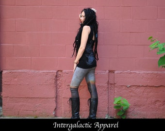 Organic Yoga Pants, Size SMALL Leggings with Hand Dyed Organic Fabric by Intergalactic Apparel