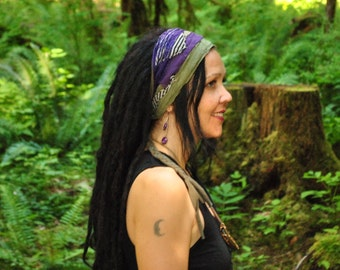 Headband, Dreads wrap, purple and green Hippie Headband, Gypsy Clothes, Dreadband, Hair Wrap, Headdress, Dreadlock wrap