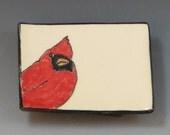 Small Handbuilt Ceramic Tea Bag Rest with Cardinal