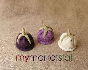 Eggplant Hat - Sz 0-3 Months - Adult Sizes